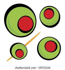 A variety of green olives.  Great clip art for a martini graphic or restaurant drinks menu.