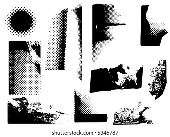 variety of grunge and halftone corners