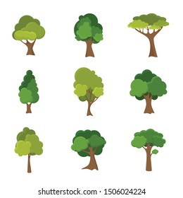 Variety of hand drawn deciduous trees illustration set