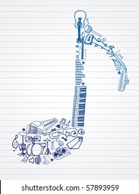 variety of hand drawn instruments makes up this musical note