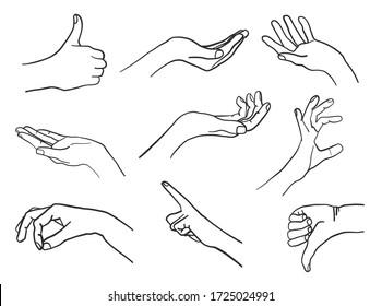 Variety of Hand Gestures set