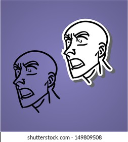 A variety of hand-drawn male faces - yawling