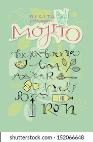A variety of hand-drawn text and illustrations to compose the Mojito cocktail recipe. Vector file. Background elements in separate layers.