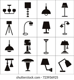 Variety of lamps, bulb and light items isolated flat vector icon set