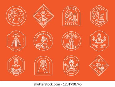 Variety of local coffee farmer line badge design with variety line element about local Ethiopian coffee farmer,coffee beans,coffee drop,mountain,cup and jar of fresh coffee vector illustration.