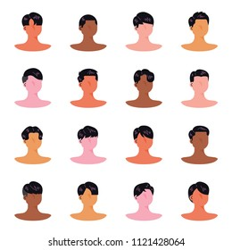 A variety of male hair style specimens in hair salon. flat design style vector graphic illustration set