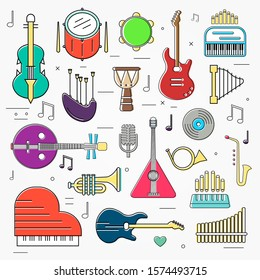 Variety of musical instruments set