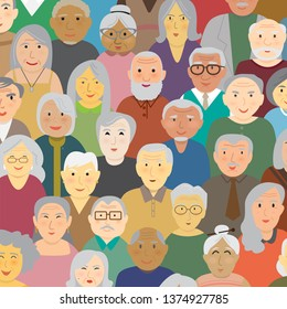 Variety nationality of elderly people cartoon vector illustration square background. Flat design in baby bloomer generation man and woman faces. Happy cute old aged human community concept.