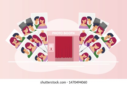 Variety Photos with Happy Couples from Booth Cabin. Kissing and Hugging Smiling Man and Woman in Love on First Dating, Celebrating Relationship Anniversary, Birthday. Vector Cartoon Illustration