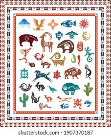A variety of southwest icons, animals and border designs. Vector illustration.