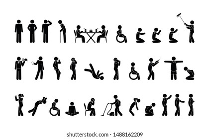 variety of standing and sitting poses, people in different situations, man does, stickman stick figure, pictogram icons
