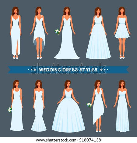 Variety Styles Types Fashions Wedding Dress Stock Vector Royalty