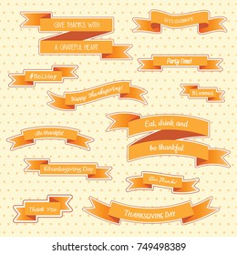 A variety of Thanksgiving ribbons, banners and stickers with holiday quotes and slogans, over a pastel polka dot background. Use for invitations, menus and social media headlines. EPS10 vector format.