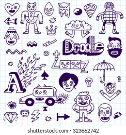 Various Abstract Funny Characters Wacky Doodle Set 2 Vector Hand Drawn Illustration School