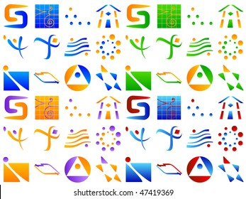 Various Abstract Vector Icon Design Element Set