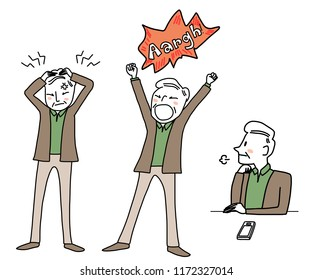Various action of exhausted elderly man such as senior man screaming Aargh! due to his anger, man sighing and boring, confused man scratching his head due to his frustration. Hand-drawn style vector.