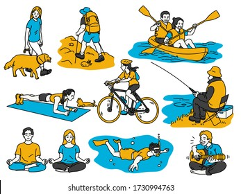 Various activities people having recreation, walk the dog, hiking, canoeing, cycling, go fishing, meditation or exercise at home, scuba diving, playing quitar. Outline, thin line art, linear style.