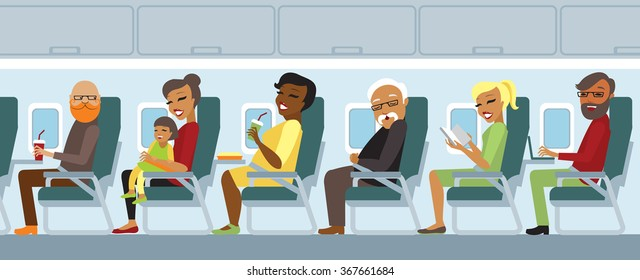 Various airplane passengers on the flight vector