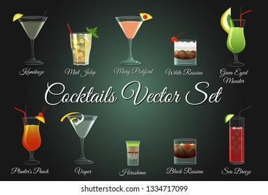 Various alcohol cocktails vector set