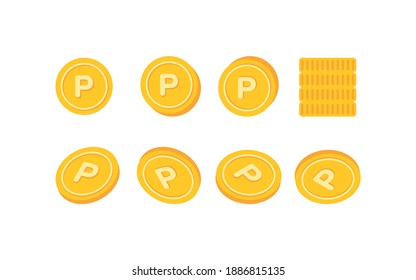 Various angle point icons illustrations. Point coin icon set. Market banner shop.