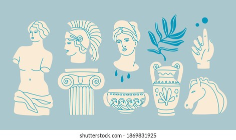 Various Antique statues. Heads of woman, knight, horse. Branch, amphora, hand. Mythical, ancient greek style. Hand drawn Vector illustration. Classic statues in modern style. All elements are isolated