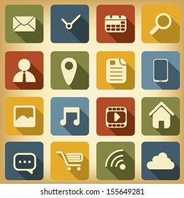 Various applications icon set with different colors suitable for web design or infographics