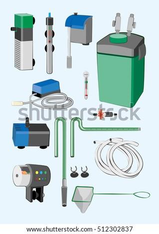 various aquarium equipment set automatic feeder stock vector