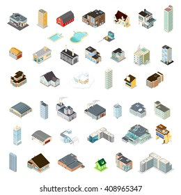 Various architectural building icons.  Vector isometric illustration of a variety of buildings.