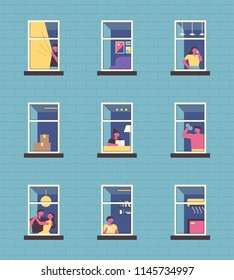 Various aspects of the neighbors seen through the windows. flat design style vector graphic illustration set