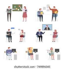 Various aspects within the company. Working people character vector illustration flat design