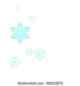 Various azure winter snowflakes, vector.
