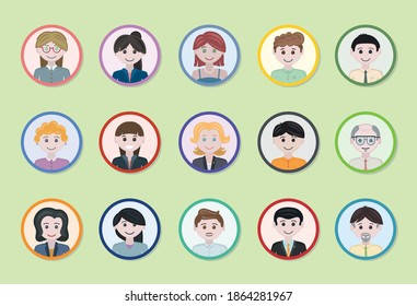 Various badge of workers, flat design and colored. Employees in a circle shape