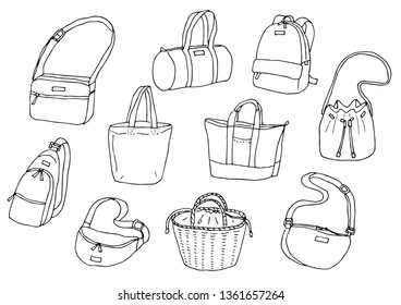 Various bags (outline)