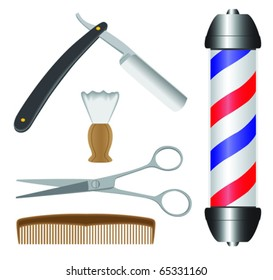 various barbershop items including razor, shaving brush, scissors, comb and barber pole.
