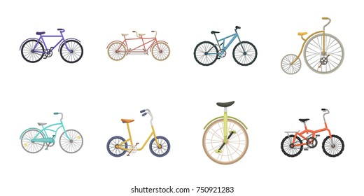 Various bicycles icons in set collection for design. The type of transport vector symbol stock  illustration.