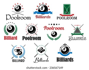 Various billiard game emblems and symbols set isolated on white with balls, crossed cues, laurel wreaths and decorative elements