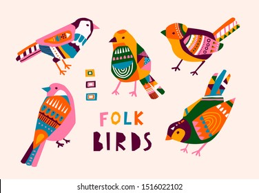 Various birds with different folk ornaments. Paper cut scandinavian style. Flat design. Hand drawn colored vector set. Modern trendy illustration. All elements are isolated