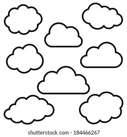 Cloud outline images stock photos vectors shutterstock various black cloud outlines collection on white background voltagebd Choice Image