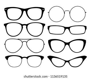 Various black silhouete glasses. Eyeglasses frames set.