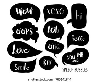 Various black speech bubbles. Hand drawn vector collection