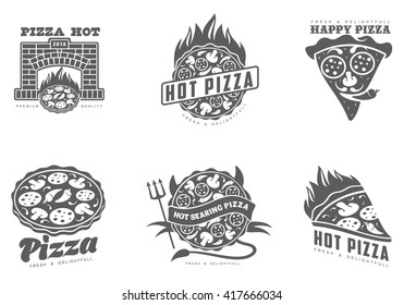 Various black & white logos pizza. collection of symbols with a hot and spicy pizza, vector