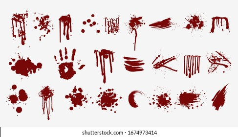 Various blood or paint splatters prints and splashes vector flat illustration. Set of abstract colorful red drops splashing elements isolated on white background