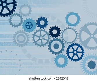 Various Blue Cogs on a Grunge Background - Vector File