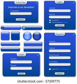 Various blue web forms, bars and buttons.