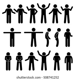 Various Body Gestures Hand Signals Human Man People Stick Figure Stickman Pictogram Icons