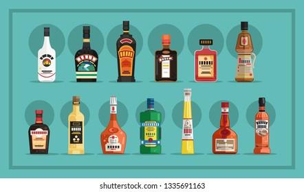 Various bottles of alcohol. Vector illustration.