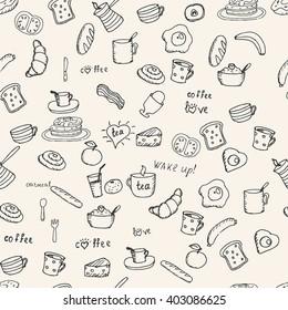 Various Breakfast items seamless vector pattern