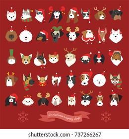 various breeds cute dogs Christmas celebration face  vector illustration flat design