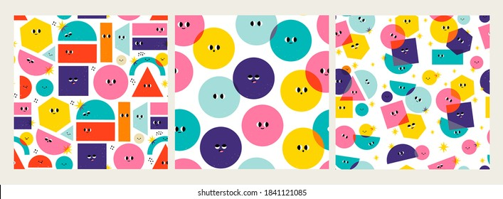Various bright basic Geometric Figures with face emotions. Different shapes. Hand drawn trendy Vector illustrations for kids. Cute funny characters. Set of three Square Seamless Patterns, Backgrounds