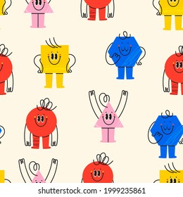 Various bright basic Geometric Figures with face emotions, hands and legs. Different shapes. Hand drawn trendy Vector illustration for kids. Cute funny characters. Square seamless Pattern